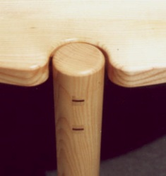 Ash circular table - mortice and tenon joint detail