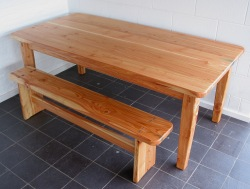 Larch kitchen table and bench.