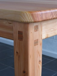 Example of decorative wedging of mortice and tenon joints